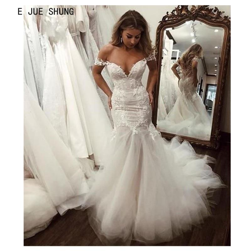 E JUE SHUNG Sexy Beach Mermaid Wedding Dresses Off The Shoulder Backless Lace Appliques Bridal Gowns Vestido De Noiva Custom