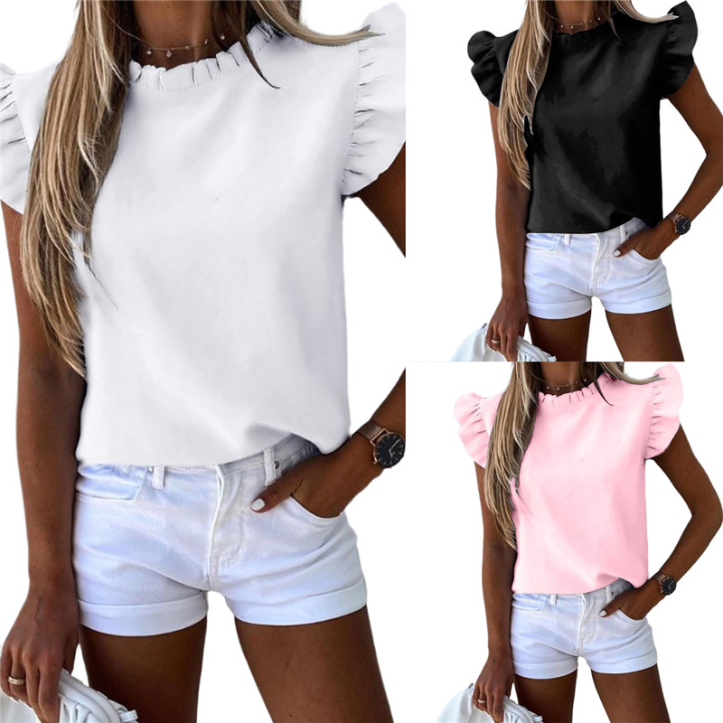 Elegante Einfarbig Frauen T Shirt Casual Sommer Kurzarm T Shirts 2020 Sexy Büro Dame Rüschen O Neck Tops tops Streetwear