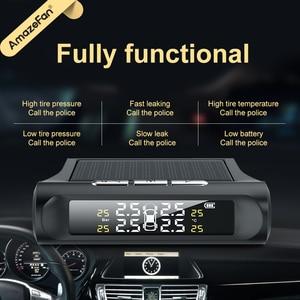 Image 5 - Solar Power Smart Auto Tpms Bandenspanning Alarm Monitoring Systemen Digitale Tmps Lcd Display Usb Auto Beveiliging Druk Sensor
