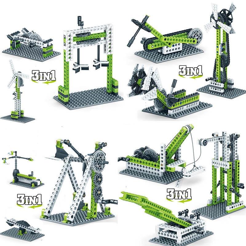 Fit Lego technic parts 3 IN 1 Random Bulk sets diy mechanic gears truck crane building