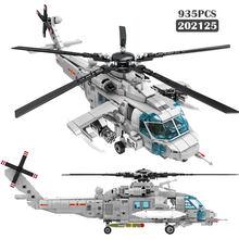 Ww2 série militar marinha helicóptero modelo blocos de construção cidade de alta tecnologia montagem avião criador diy tijolos brinquedos para crianças