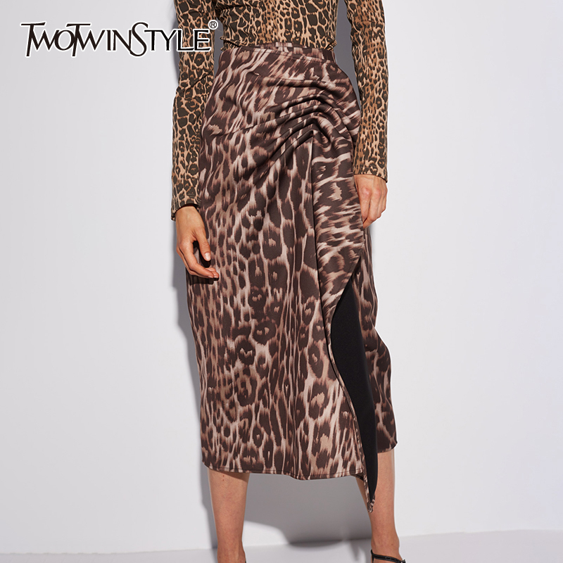 TWOTWINSTYLE Asymmetrical Leopard Womens Skirt High Waist Side Split Ruched Irregular Skirts For Female Clothes 2020 Fashion New