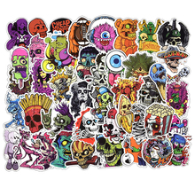 50 pcs Mixed Horror Skeleton Sticker Graffiti Dark Cool Stickers for DIY Luggage Laptop Helmet Luggage Skateboard Stickers