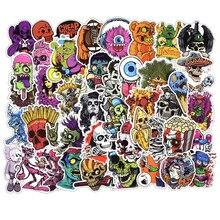 Autocollants de squelette dhorreur mixte, autocollants de Skateboard, couleur foncée, pour bagages, casque dordinateur portable, bagage, DIY bricolage, 50 pièces
