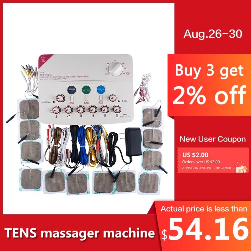 CFDA 6 DEZENAS de canais de Saúde máquina massageador corpo relaxar acupuntura estimulação Alívio Da Dor pé pescoço massagem Medicina Chinesa