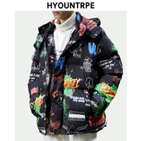 Fashion Cotton padded Clothes Winter Thick Mens Jacket Graffiti Printed Bomber Hooded Coats High Street Loose Parkas Outerwear