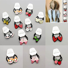 Cartoon Heart Rubber Band Girls Mini Hair Accessories 2Pcs/set  Elastic Bands For Kids Scrunchies Ponytail Ties Ropes