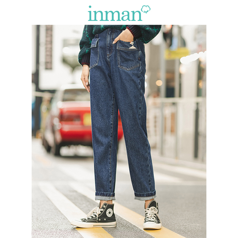 INMAN Winter 100%Cotton High Waist Print Pocket Slim Women Long Pants