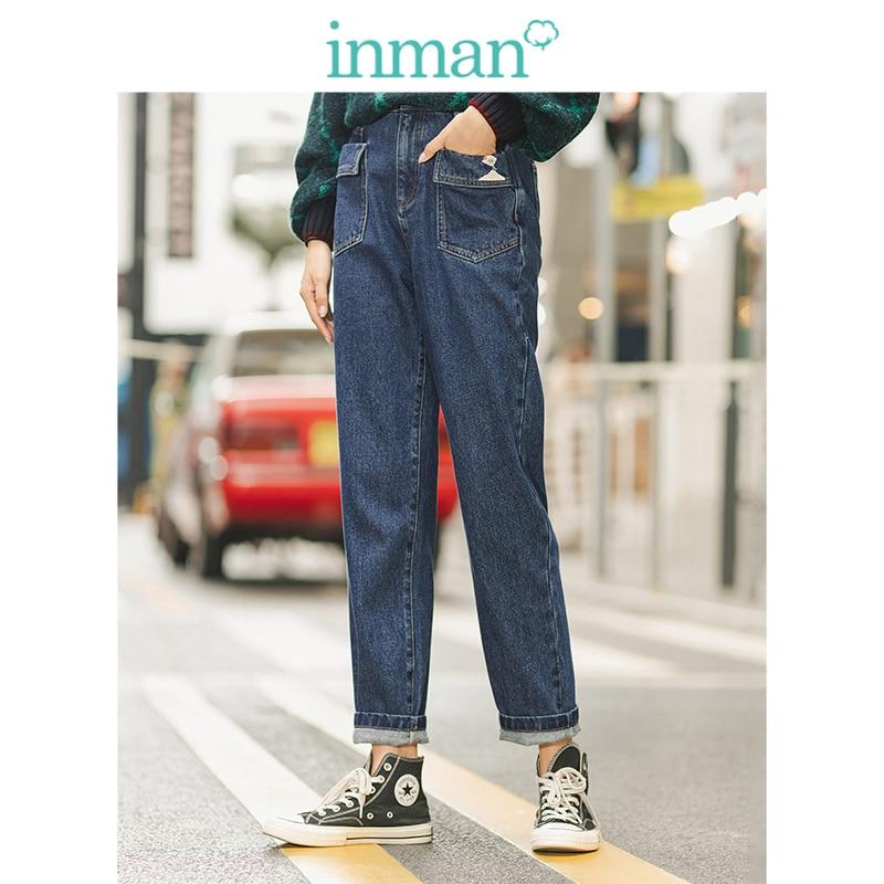 INMAN Winter 100%Cotton High Waist Print Pocket Slim Women Long Pants