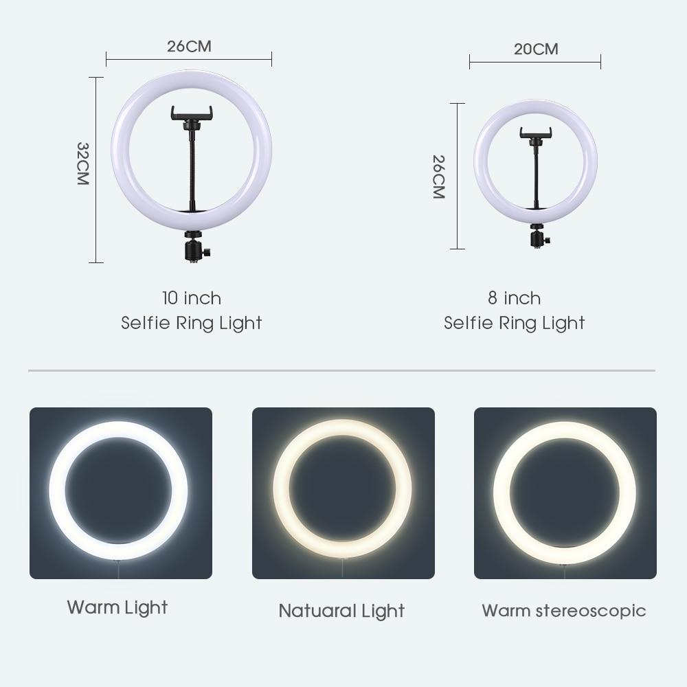Selfie ring light fotografía luz led borde de lámpara con soporte - Cámara y foto - foto 4