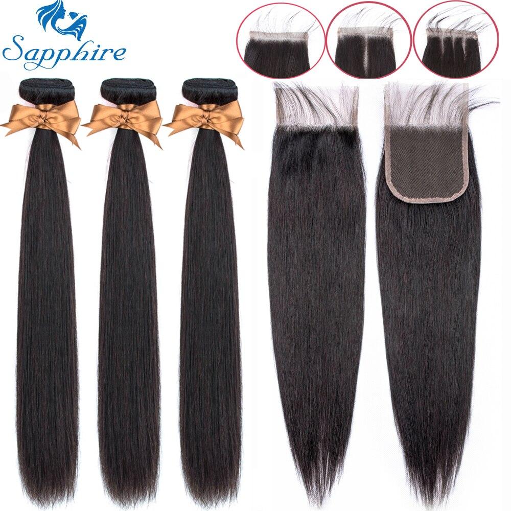 Pacotes retos da safira com fechamento tecer o cabelo brasileiro pacotes com fechamento pacotes do cabelo humano com extensão do cabelo do fechamento