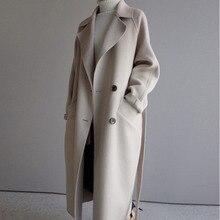 Winter Beige Elegant Wool Coat Women Korean Fashion Black Long Coats Vintage Min