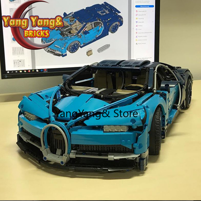 20086 In Stock Supercar Bugattis Blue\Red\Black 3625Pcs Technic 42083 Model Building Blocks Bricks Toys 20097 20003 93018 23006
