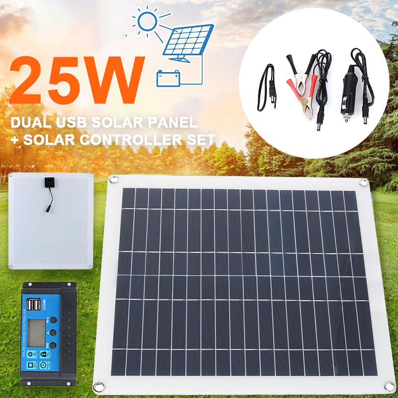Cewaal panneau solaire double USB + DC cellule solaire chargeur batterie externe 25W 5V LCD contrôleur solaire 10A 12V 24V pour téléphone iPad Camp