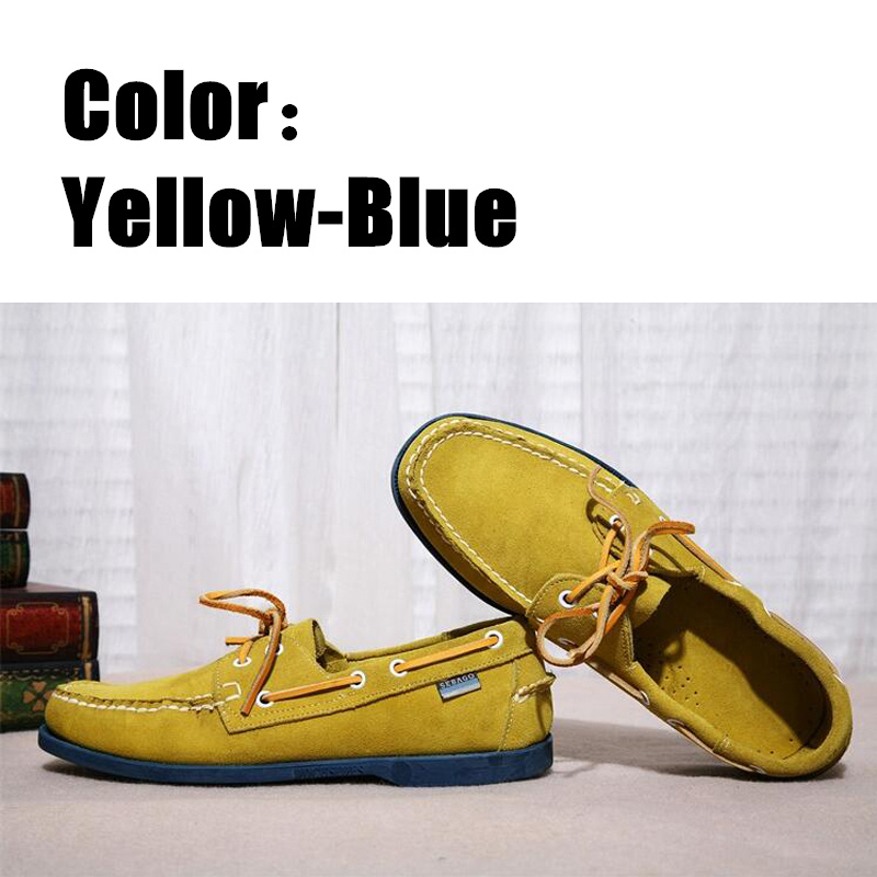 Men Genuine Nubuck Leather Docksides Boat Shoes,Men Designer Sneakers For Hommme Femme Yellow Blue Hombre Loafers Y059