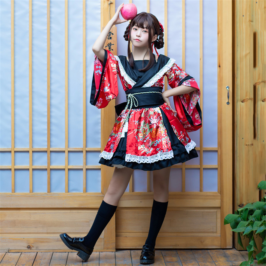 Traditional Japanese Costume Kimono Dress For Women Sakura Yukata Tutu Japanese Kawaii Girls Anime Cosplay Haori Party Stage