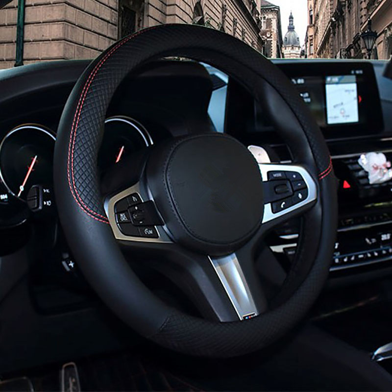 Чехол рулевого колеса автомобиля 37-38 см, универсальный кожаный чехол на руль высокого качества, подходит для 99% всех моделей, автомобильные ...
