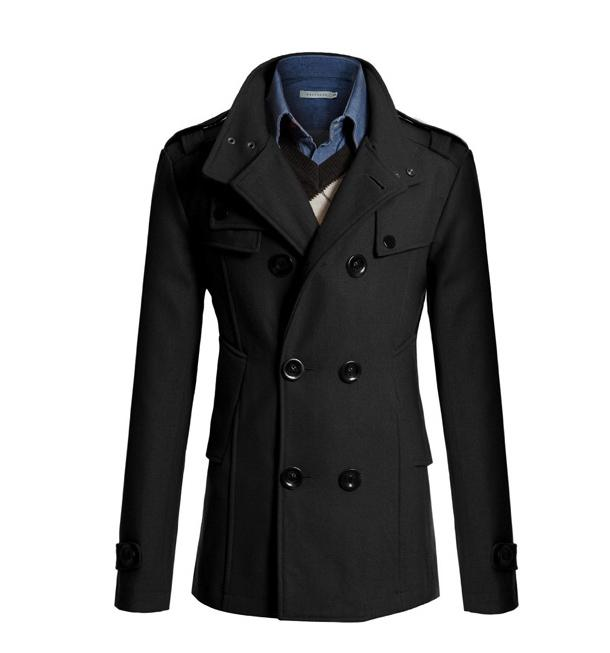 Medium Long Trench Coat Men Overcoat Winter Jacket Men  Windbreaker Thick Solid Black Trench Coat Men English Style Costume
