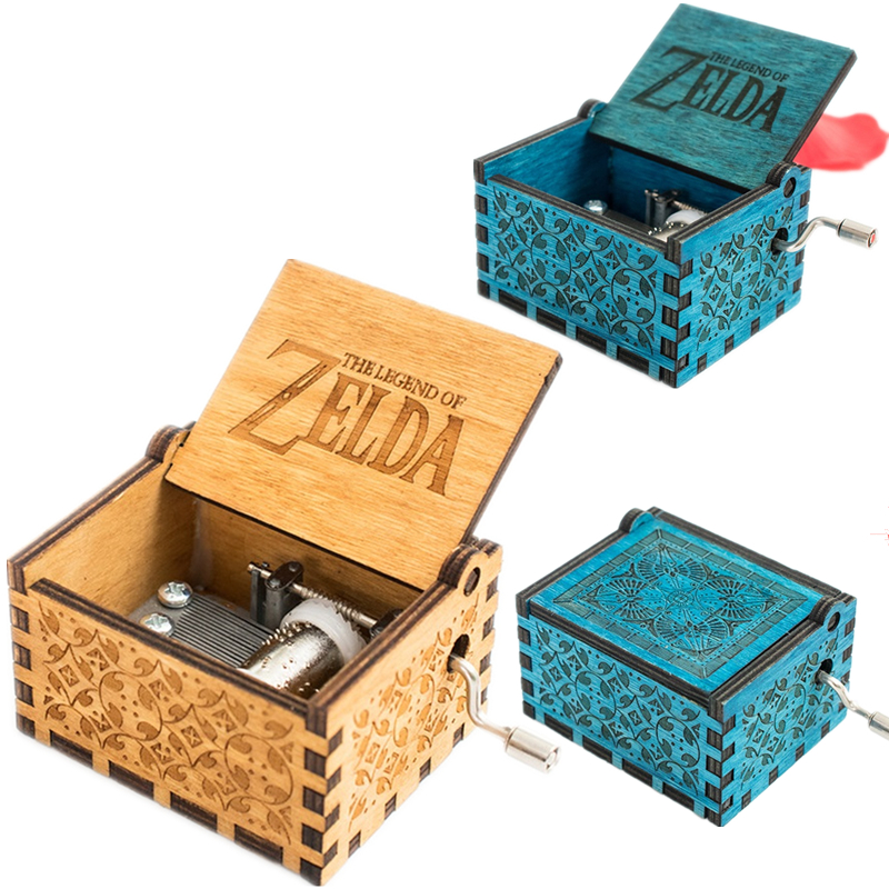 Game The Legend of Zelda Theme Handmade Engraved Wooden Music Box Crafts Cosplay image