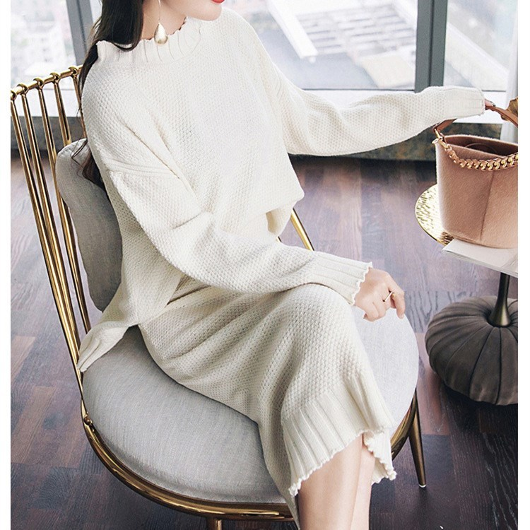 Pullover Sweater And High Waist Skirt Knitted Two Piece Set Women Outfits Long Sleeve Sweater Skirt Office Suit