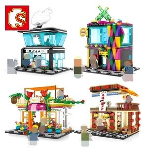 Image 5 - SEMBO Blocks Street Mini Shop CAKE STORE Building Bricks for Children Toy Super Market Kids Doll brinquedos Girls Boy Gifts