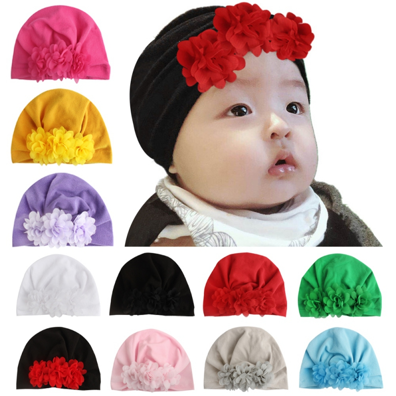 3pcs Newborn Baby Infant Knot Hat Cotton Soft Floral Animal Printed Beanie Cap