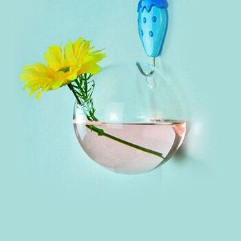 1 unidad de 7*8CM de alto borosilicato GlassTransparent flor para colgar en pared maceta de vidrio terrario florero contenedor decoración de jardín