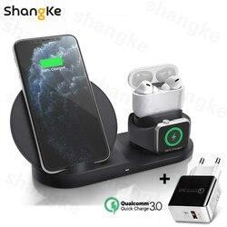 3 в 1 Быстрое беспроводное зарядное устройство док-станция Быстрая зарядка для iPhone 11 11 Pro XR XS Max 8 для Apple Watch 2 3 4 5 для AirPods Pro