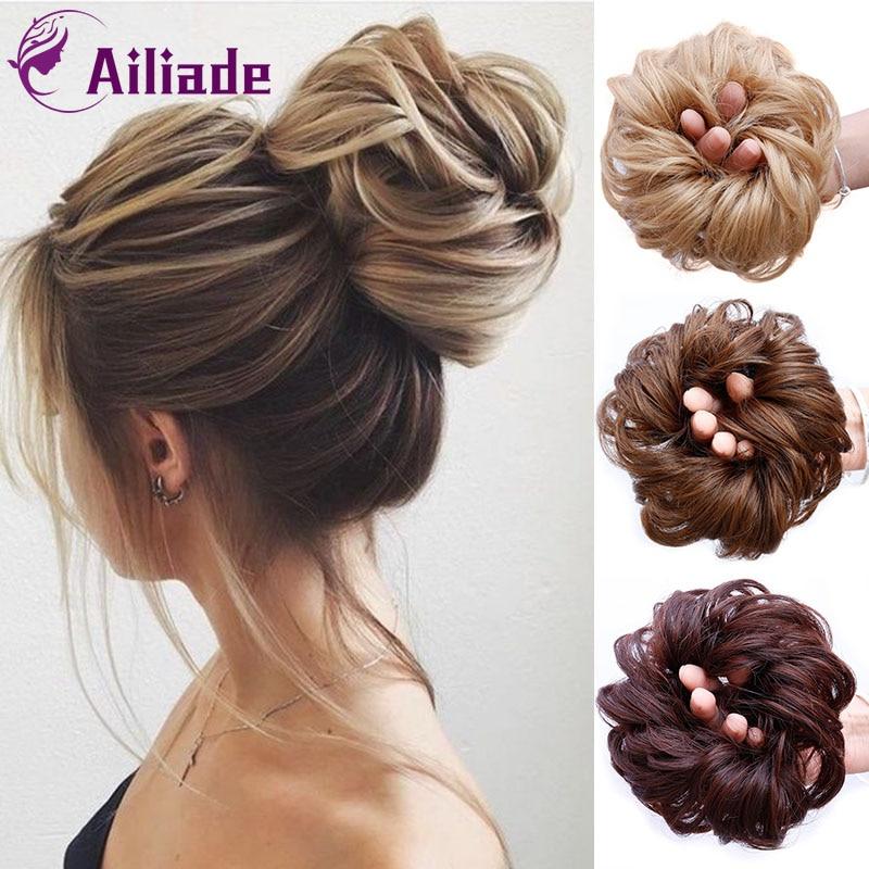 AILIADE Fashion Synthetic Fake Hair Bun Chignons For Adult Women Elastic Scrunchies Hair Piece Bun Hair Tail  Accessory 9 Colors