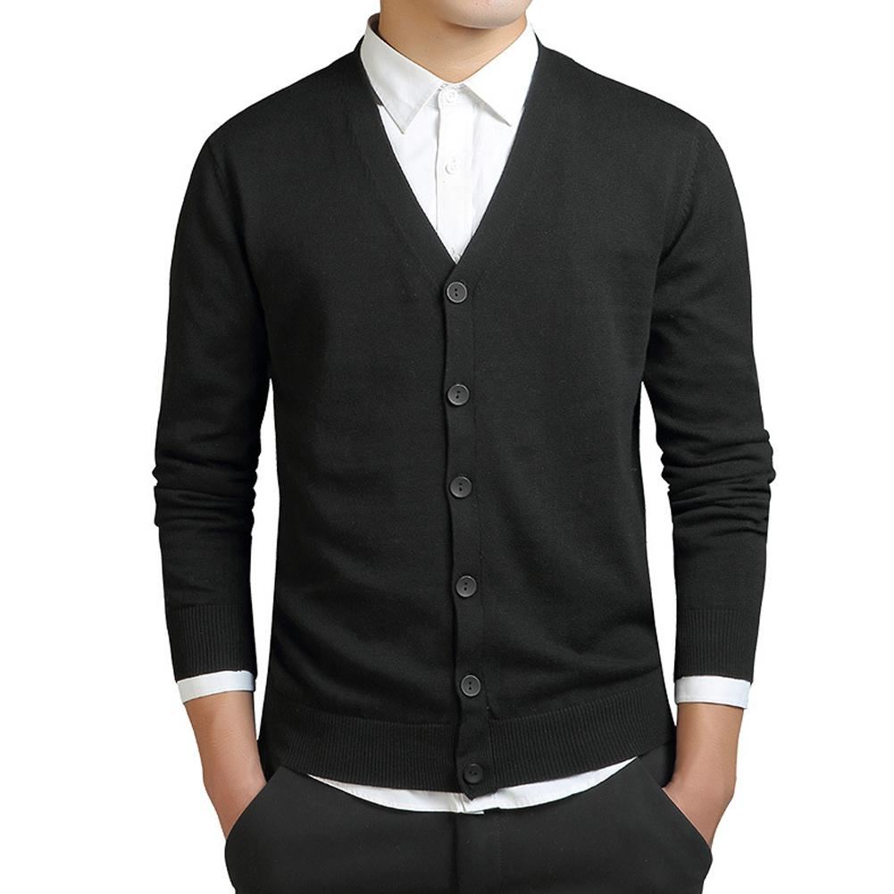 Yiwa Men Sweaters Cardigan Plus-Size Coat V-Neck Knit Autumn Spring Button Thin Tops
