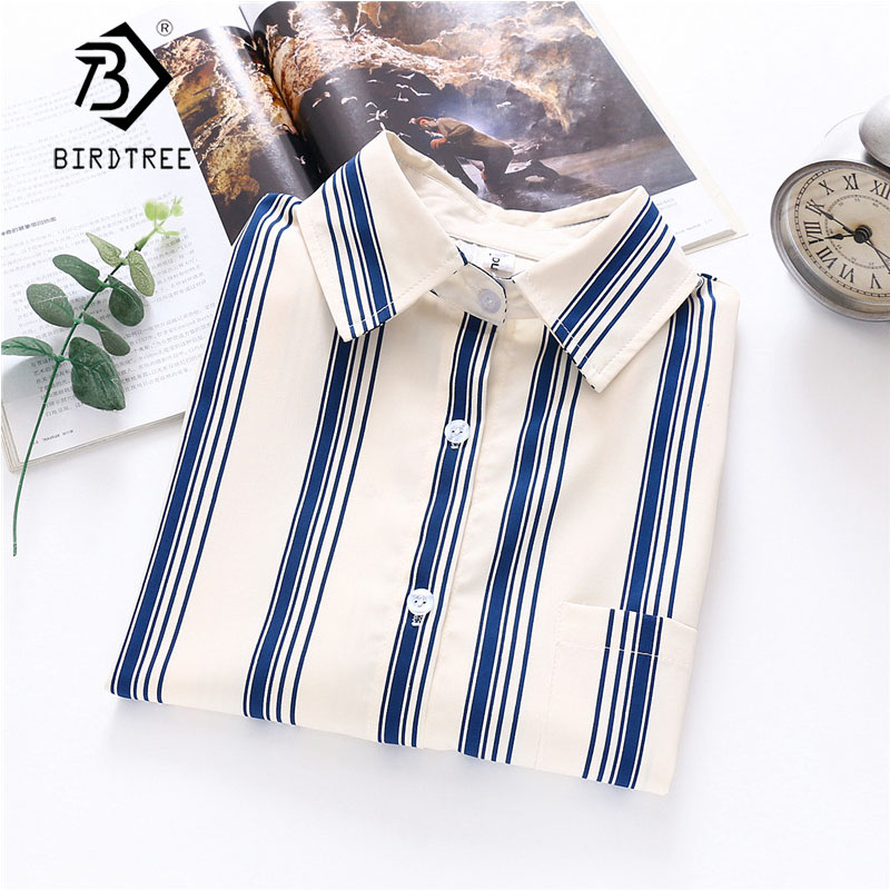 2020 Summer New Women Blue Striped White Shirts Autumn Long Sleeve Vintage Shirt Loose Tops Casual Wear Feminina Blusa T02809Y
