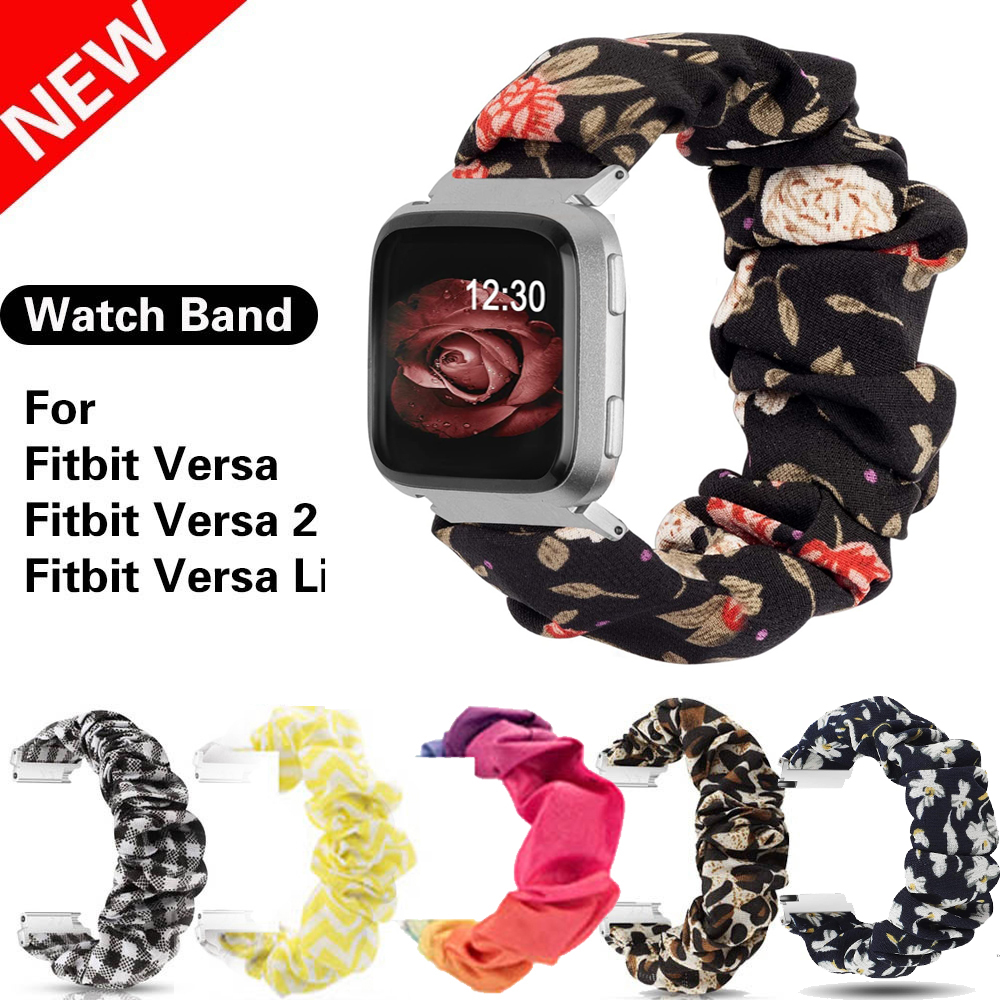 Scrunchies Elastic Bands for Fitbit Versa Women Soft Woven Leisure Strap Replacement Elastic Fabric Band for Versa 2/Versa Lite