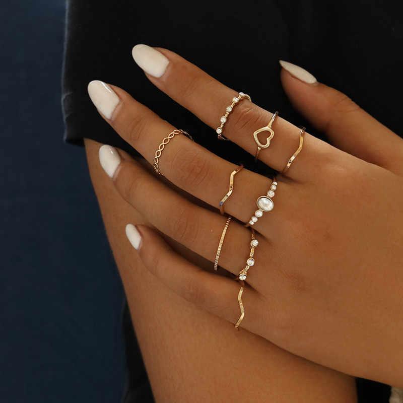 ZORCVENS 9 pçs/set Cor Do Ouro Do Punk Knuckle Anéis Set Para As Mulheres do Encanto Do Coração Do Vintage Da Moda Jóias Anel de Casamento de Cristal Do Sexo Feminino