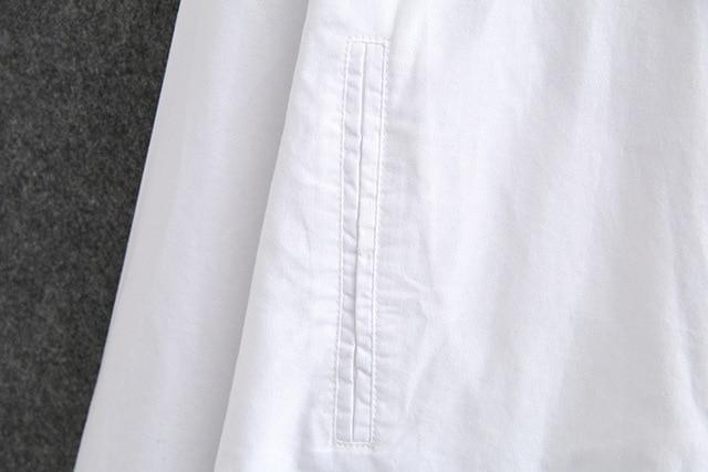 White Long Sleeve Blouse Shirt Women Oxford Shirts Pockets Loose Plus Size Casual Shirts Turn-down Collar KKFY4774 4