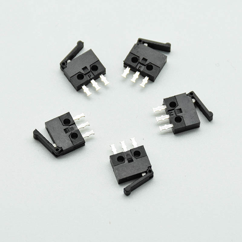 5pcs/lot Black Small/micro Switch Camera Switch Reset Detection Stroke Limit Miniature 3-foot Straight Foot Handle Mini