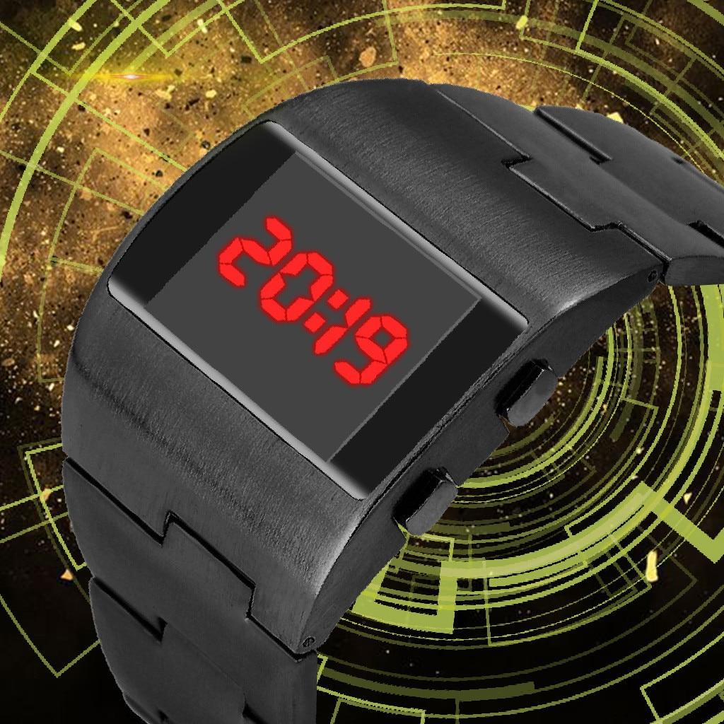Cool Fashion Handsome Wide Steel Belt Monochrome lcd Digital Electronic Watch Luxury simple sports Mens Watches часы мужские f4*|Digital Watches| - AliExpress