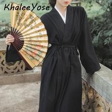 KHALEE YOSE Chinese Modern Hanfu Dress Autumn Long Sleeve 2 Piece Wrap Maxi Women Robe Dresses Gown Clothing