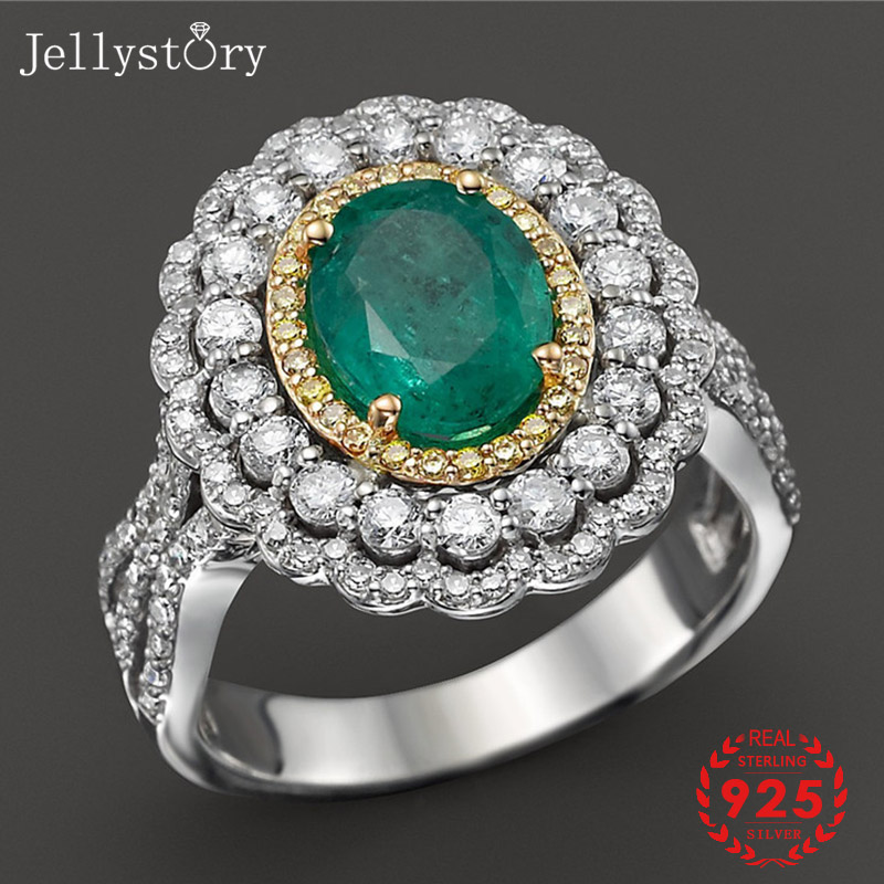 Jellystory Classic 925 Silver Jewelry Ring with 7*9mm Oval shape Emerald Zircon Gemstones for Women Wedding Party Gift wholesale