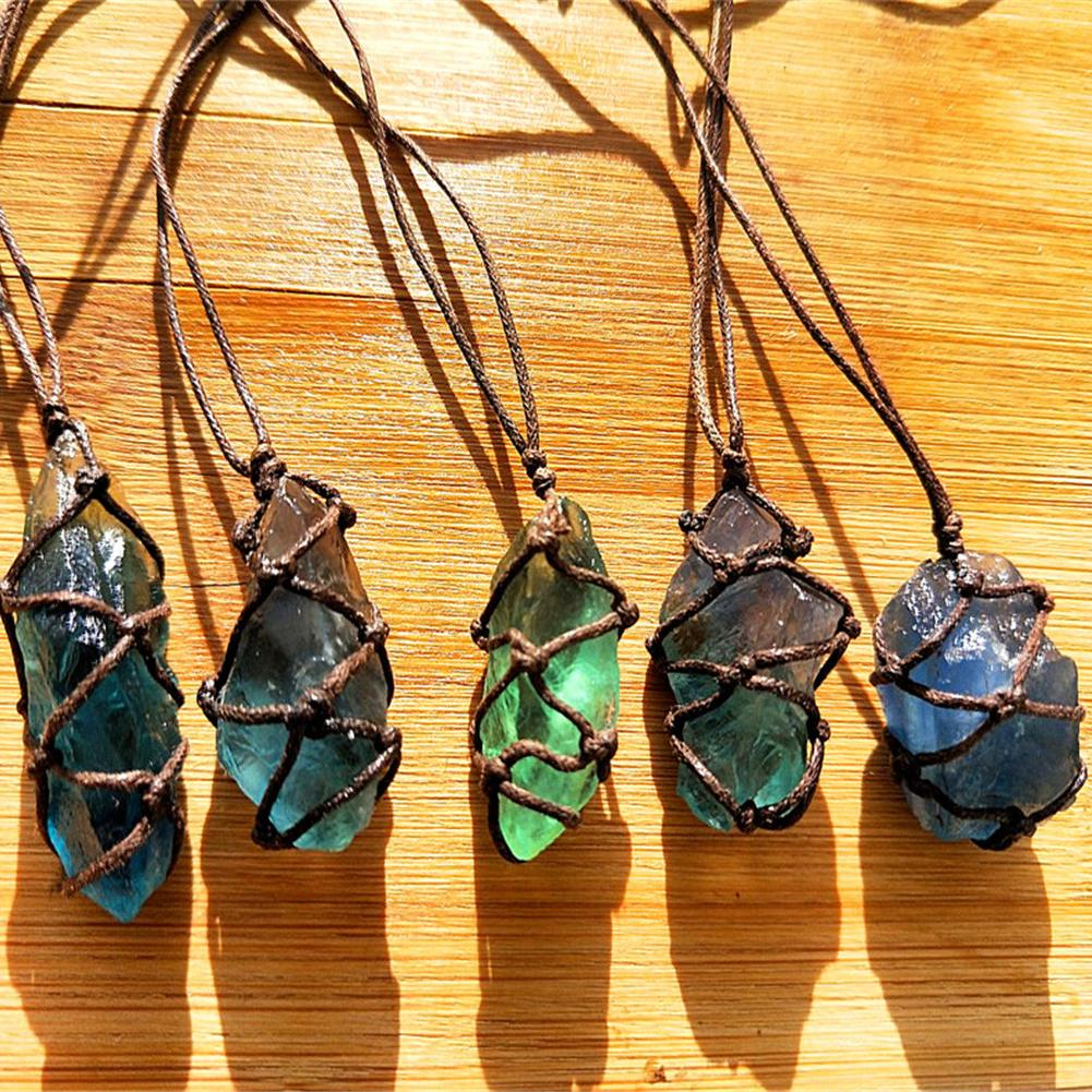 1Pcs Natural Quartz Crystal Stone Blue/Green Fluorite Treatment Stone Fluorite Ornament Fluorite Pendant With Hand-woven Rope