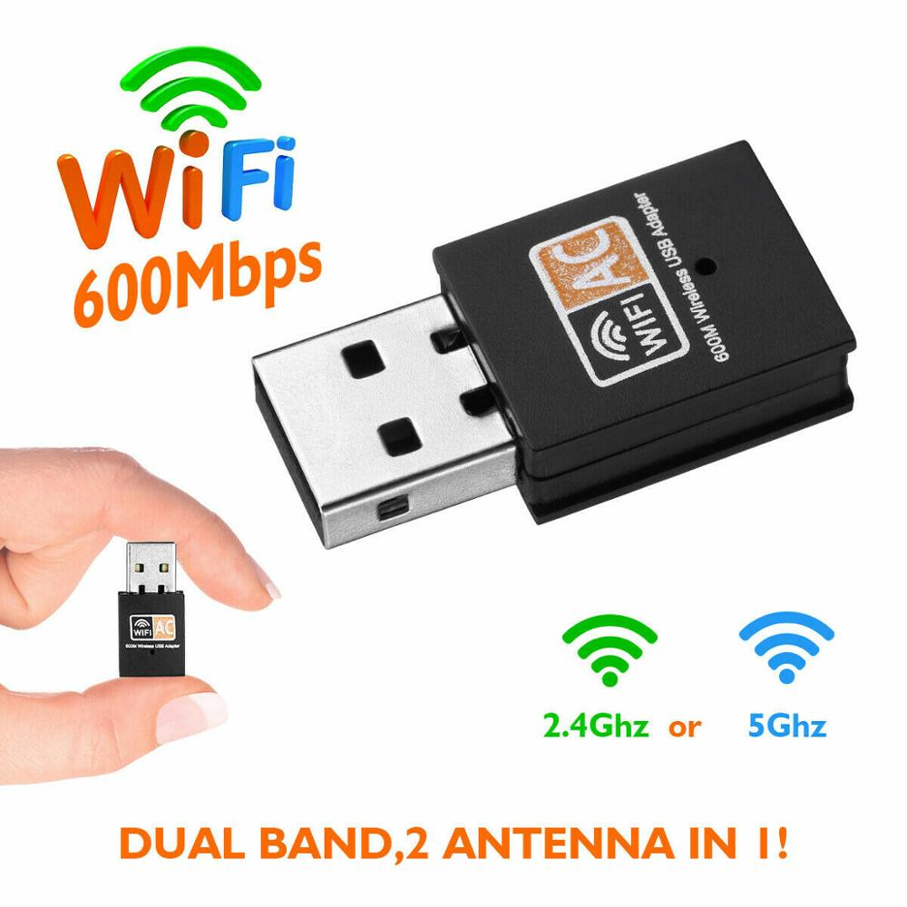 Mini USB WiFi Adapter USB Ethernet WiFi Dongle 600Mbps 5Ghz Lan Wi-Fi Adapter PC Antena Wi Fi Receiver AC Wireless Network Card image