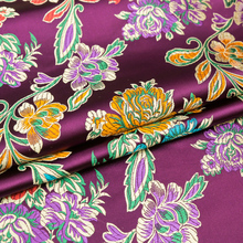 Chinese silk flower satin brocade jacquard fabric material dress cheongsam kimono sewing garment fabric