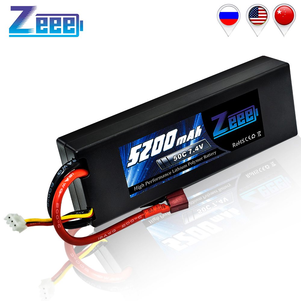 Zeee 5200mAh RC Lipo Battery 7.4V 50C 2S RC Battery With Deans Plug For RC Evader Boat Car Truck Truggy Buggy Tank Helicopter