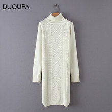 DUOUPA 2019 autumn and winter new long sweater dress casual womens high collar solid color  long-sleeved knitted slim