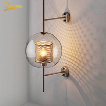 Modern LED Gloss Wall Lamp Lighting Fixtures Glass Shade Lamp Golden Iron Fixtures Sconces Home Bedroom Attic Bedside Wall Light