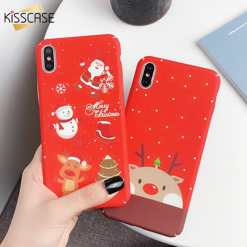 KISSCASE Christmas Phone Case For iPhone X 10 XS MAX XR 7Plus 8Plus Luminous Emboss Case For iPhone 7 8 6 6S Plus XS XR Coque