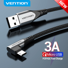 Vention Micro USB Cable 3A Right Angled Fast Charge Data Cable For Xiaomi Remdi Samsung Android Mobile Phone USB Charger Cable