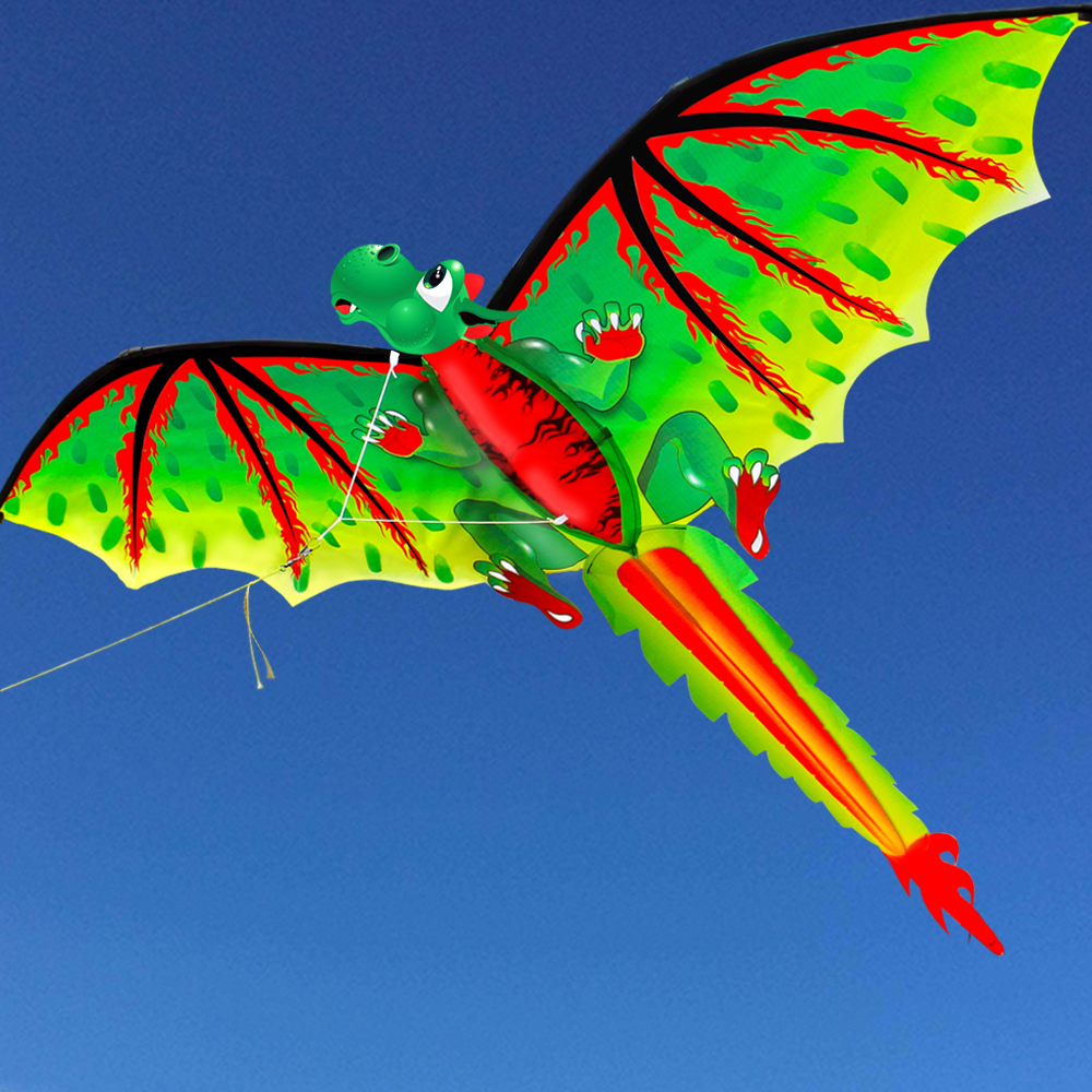 New High Quality 3D Single Line  Green  Dragon  Kites Sports Beach With Kite Handle And String Easy To Fly
