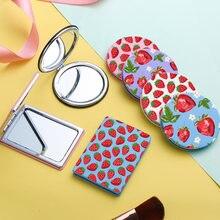 Клубничное мини косметическое зеркало модное милое портативное
