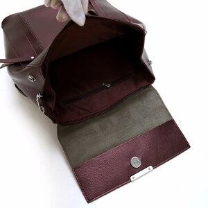 Image 5 - Femme sacs à Dos solide femmes école Sac à Dos Mochilas femmes en cuir sacs à Dos de haute qualité dames Sac à Dos Vintage Sac A Dos nouveau