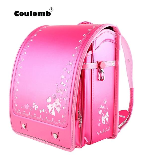 Coulomb High Quality Children Girls Kid Orthopedic Backpack School Students Bookbags Japan PU Cute Bowknot Randoseru Baby Bags